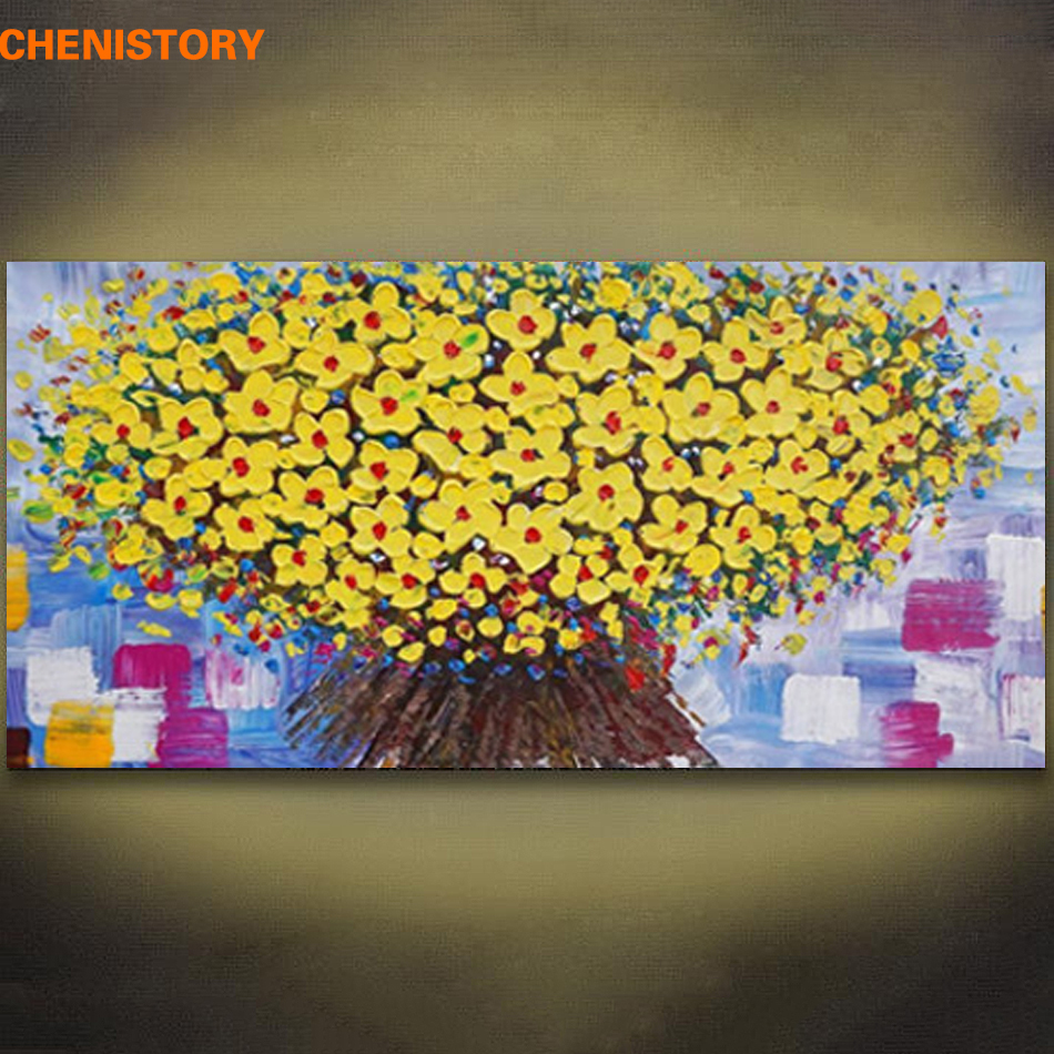 Unframed Palette Knife Painting Yellow Flower Abstract Modern Wall ...