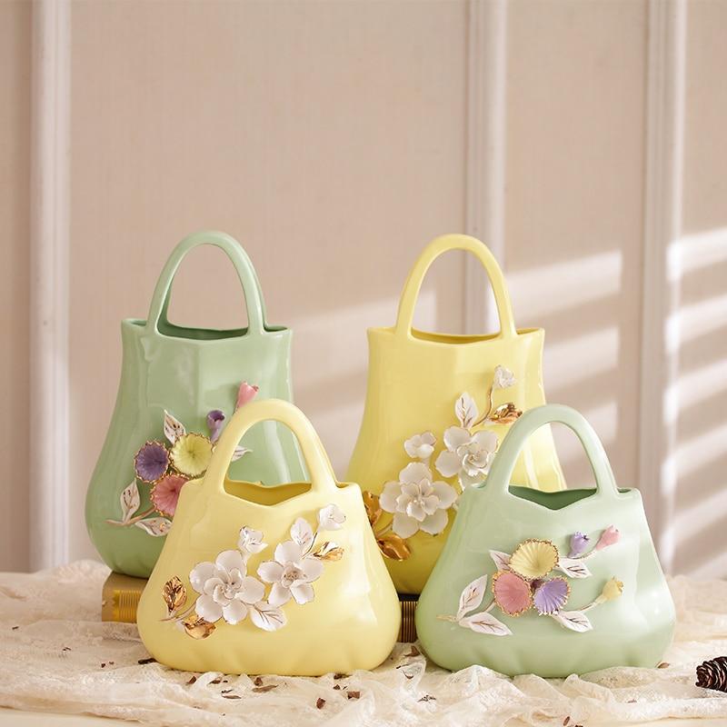Tricot fleurs en céramique fleur panier forme design vase figurine décor à la maison artisanat art ornement mariage décorations cadeau