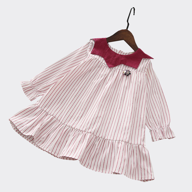 368bccc3a Girls dresses kids 2018 spring long sleeves striped ruffles dress ...