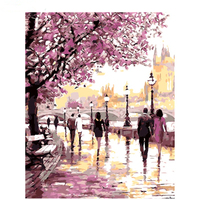 DIY Picture On Wall Oil Painting By Number Beautiful Sakura Lane Home Decor Abstract Drawing Hand