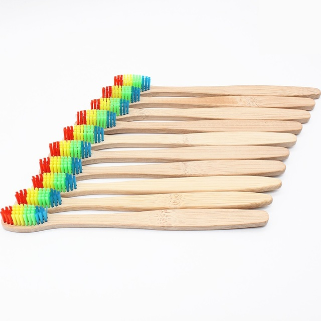 10 Pcs Wooden Rainbow Bamboo Toothbrush Oral Care Soft Bristle Head Bamboo Toothbrush Capitellum Bamboo Toothbrush Wholesale