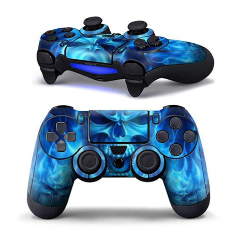 Gasky PVC Sticker Blue Skull Pattern Case Protector Decal for Sony PS4 Playstation 4 Controller Game Accessories