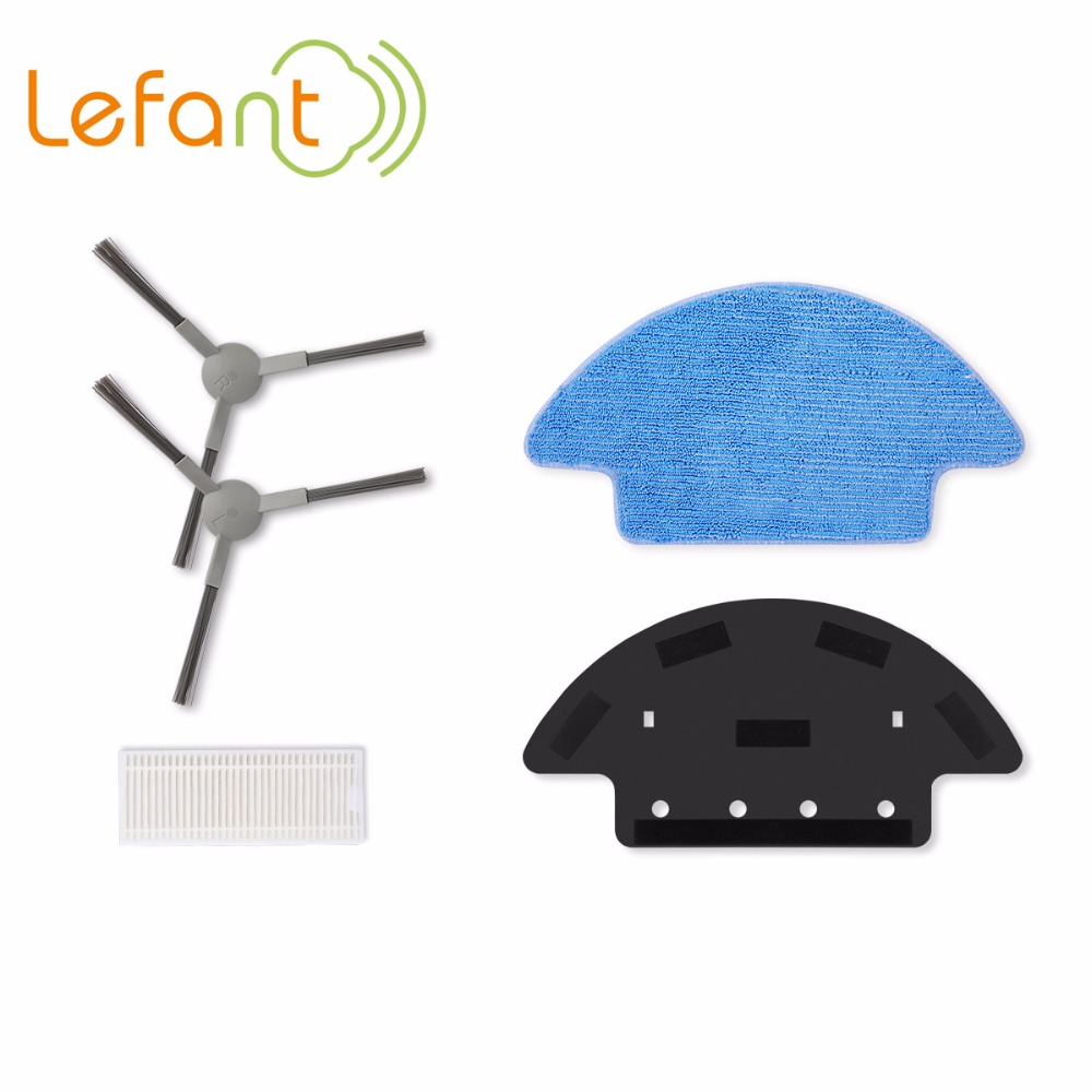 Packaging LEFANT robotic vacuum cleaner parts HEPA filter mopping cloth base plate 2pcs side brushes cheapest 1pcs cleaning mopping cloth 3 pair hepa filter 3 pair cleaner side brush for dt85 dt83 dm81 vacuum cleaner for house
