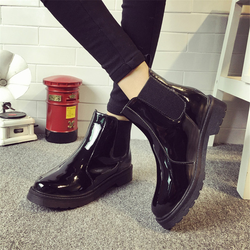 Ladies Women PU Round Toe Flat Short Boots Zip Causal Shoes