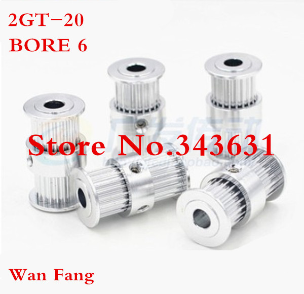 2pcs 2gt-20 Timing Belt Pulley 20 teeth double gear bore 6mm fit width 6mm of 2GT timing Belt Wtin hex key and set screw