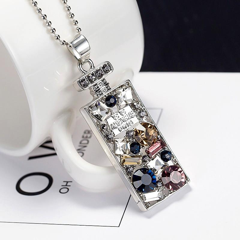 Reka Bentuk Baru Berlian Imitasi Berwarna-warni Kalung Liontin Kalung Botol Parfum Untuk Wanita Perhiasan Sweater Rantai Nc044