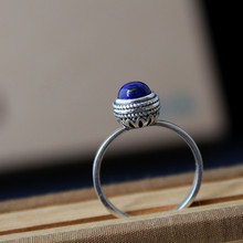 Free shipping!!! 925 sterling silver jewelry elegant classical style natural lapis lazuli rings for women best gift