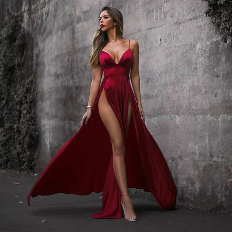 2018 Sexy High Split Sides Shiny Red Velvet Maxi Dress