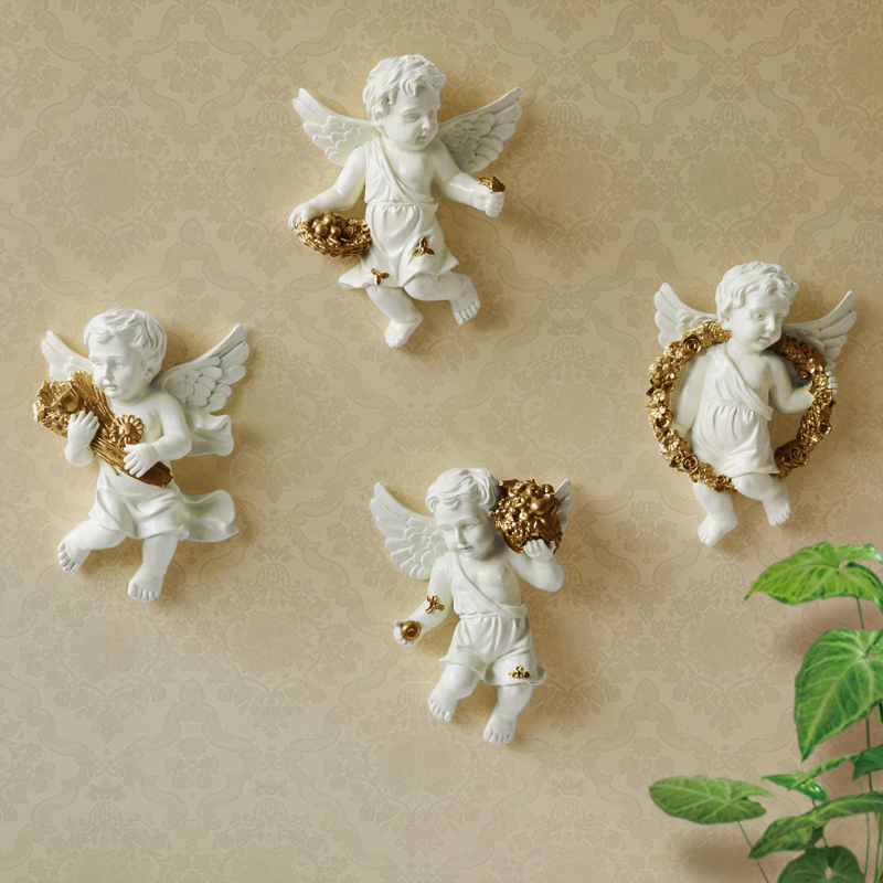 European Resin Wall hanging Angel Wall Decoration Crafts Individual Creativity Home Stereo Wall Decoration Nordic Room Decor