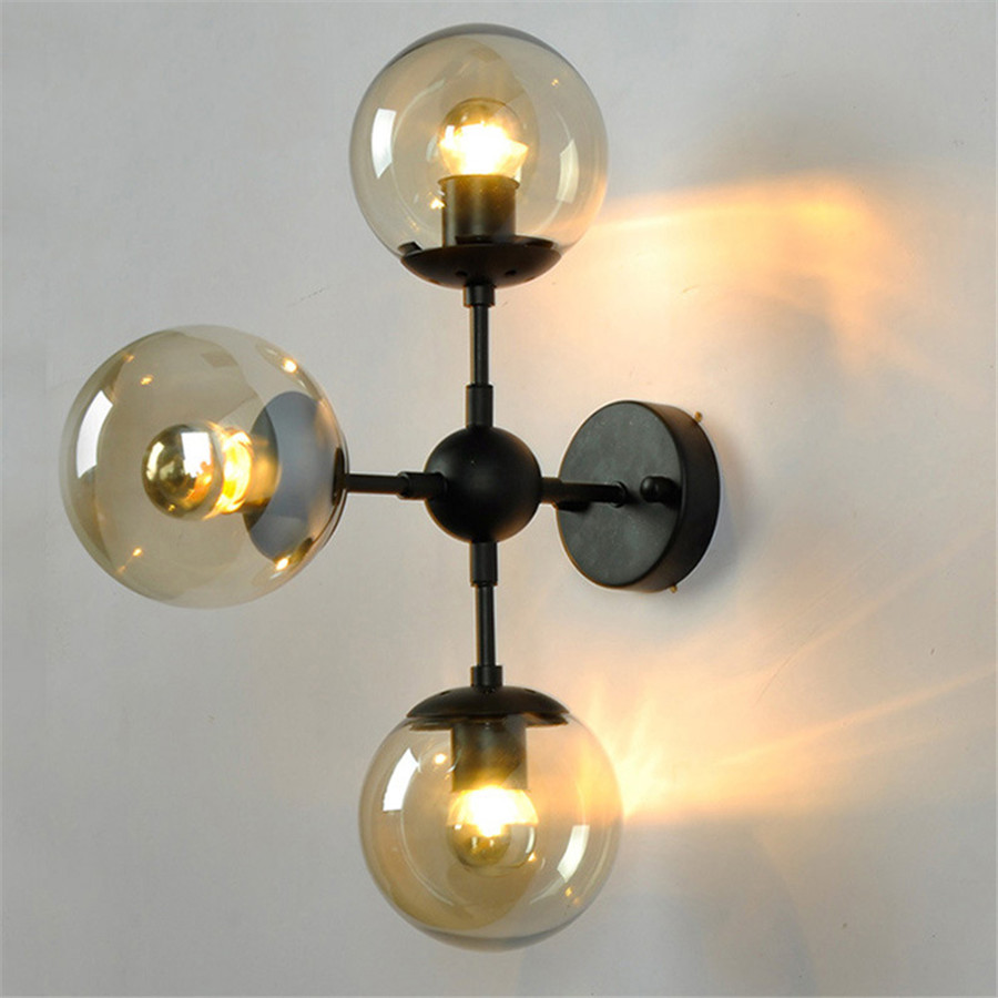 Thrisdar E27 Vintage Glass Ball LED Wall Light Bedroom Bedside Glass Wall Lamp Restaurant Shop Hotel Glass Wall Sconce|Wall Lamps| |  - title=