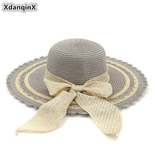 XdanqinX Oversized Sun Visor Adult Womens Straw Hat Bow Decoration Hats Foldable Novel Elegant Fashion Beach For Women