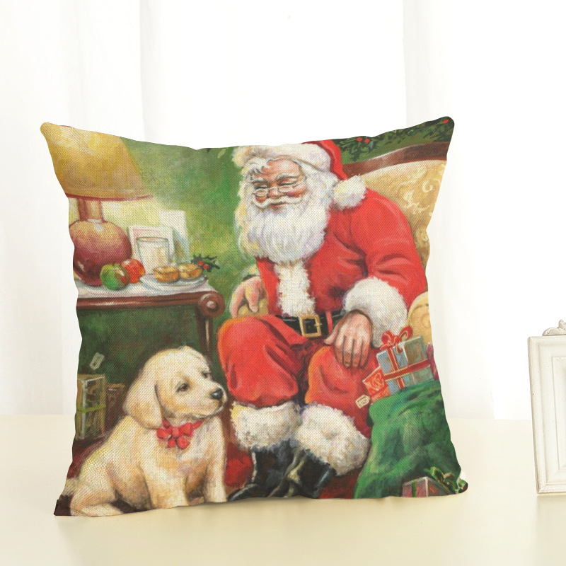 New Year Christmas Decorations For Home Christmas Pillow cover Santa Claus and Dog Cotton Linen Pillowcase Office Home Cushion (12)
