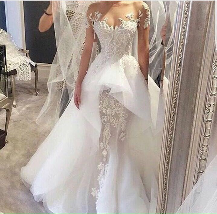 2018 New White Cap Sleeves Mermaid Wedding Dress Embroidery Long Wedding Gowns Online Shop China vestido de noiva