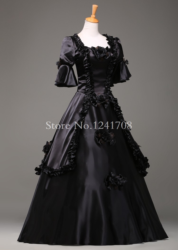 Black Vintage Gothic Rococo Ball Gown Adult Halloween Party ...