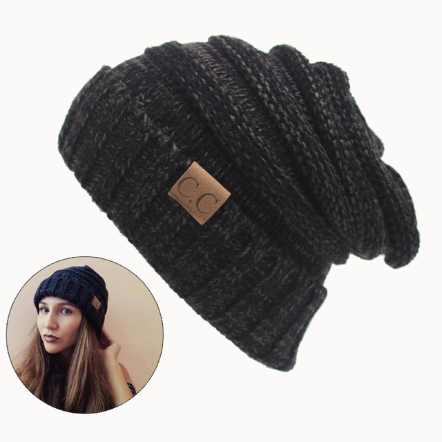 Women Winter Hat Knitted Wool Cap Beanies Unisex Casual Pure Black Color Hip-Hop Skullies Beanie Warm Men hat Christmas Gift