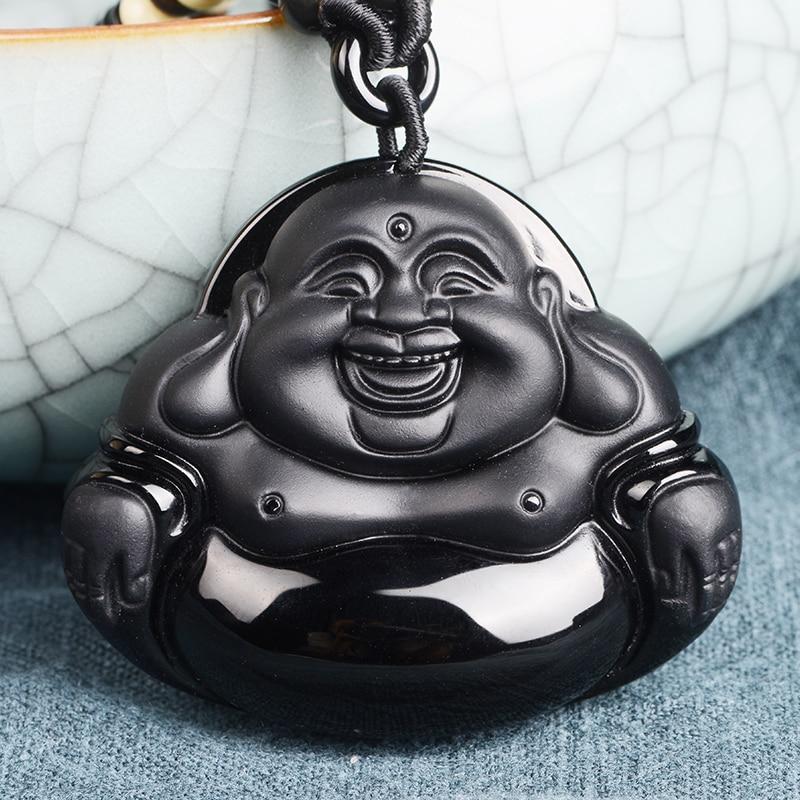 PUHOLY/ belwide jewelry Wujin natural Obsidian pendant pendant large Buddha Buddha Maitreya Maitreya