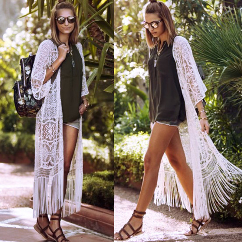 2018 Summer Pareo Beach Cover-Ups Lace Embroidery Bikini Tassel Swimwear Women Robe De Plage Long Dress Cardigan Bathing Suit