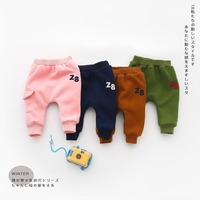Casual Warm Winter   Baby   Infants Kids Girls Boys Plus velvet Thicken Number 28 patch Full Length   Pants   trousers C1448