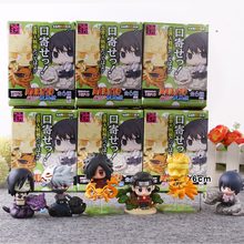 6pcs set Naruto Cute Version Sasuke Uchiha Itachi Uzumaki Naruto Action Figure Japanese Anime Toys With