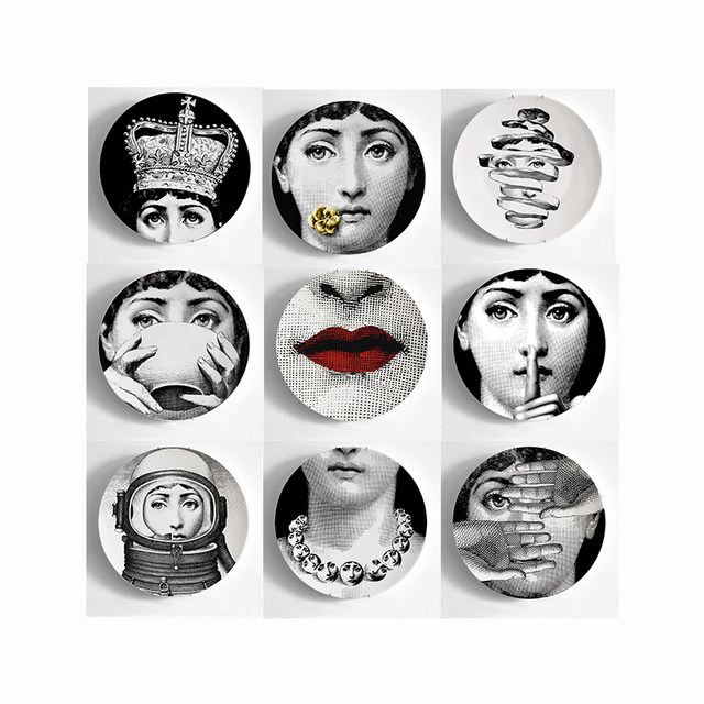 Piero Fornasetti Decorative Plates Dishes 8 Inch Fornasetti Face Decorative Wall Plates for Hanging Porcelain Plates 9 Pieces  sc 1 st  Aliexpress & Online Shop Piero Fornasetti Decorative Plates Dishes 8 Inch ...