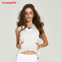 CrazyFit Crop Top Hoodie Sweatshirts 2017 Yoga Fitness Clothes Shirt White Sweater Sport Women Gym Clothing Sleeveless Tracksuit