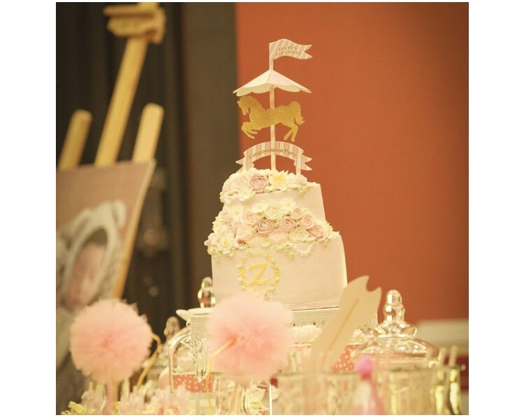 2018 Creative Horse Cupcake Flags Carousel Horse Cake Topper Baby ...