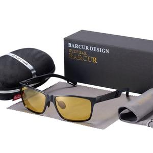 Image 5 - BARCUR الألومنيوم الاستقطاب النظارات الشمسية الرجال نظارات شمسية مستقطبة مربع حملق نظارات Gafas oculos دي سول masculino