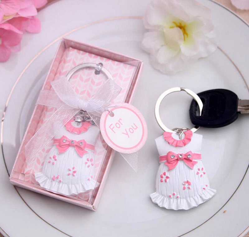 50pcs Wholesale Cute Baby Themed Pink/blue Baby Clothes Keychain Favors For Christening Gifts Baby Shower Favors