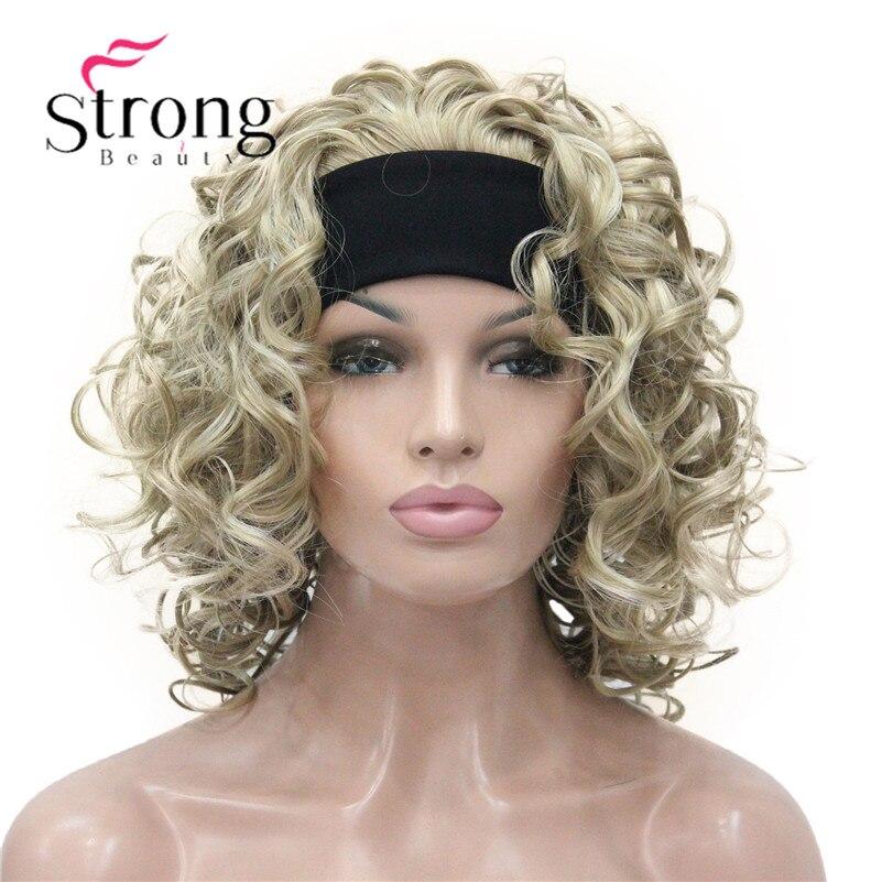 Image 3 - Светлые волосы, короткие 3/4 Женские синтетические волосы, завитые волосы с повязкой на голову, выбор цветаhair pieceshair curlyhair hair  АлиЭкспресс