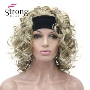 Image 3 - הבהרה בלונד קצר 3/4 נשים של סינטטי פאות פאה מתולתל שיער חתיכה עם סרט צבע אפשרויות