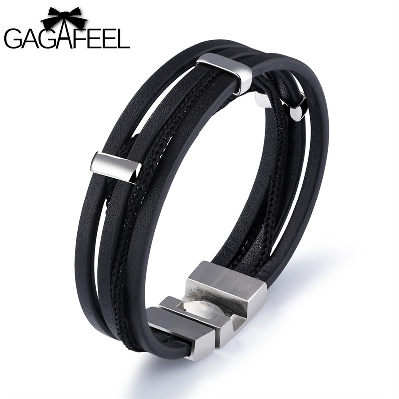 GAGAFEEL Real Leather Punk Men Bracelet Bangle 316L Stainless Steel Bracelets Wrap Chain Cowhide Jewelry With