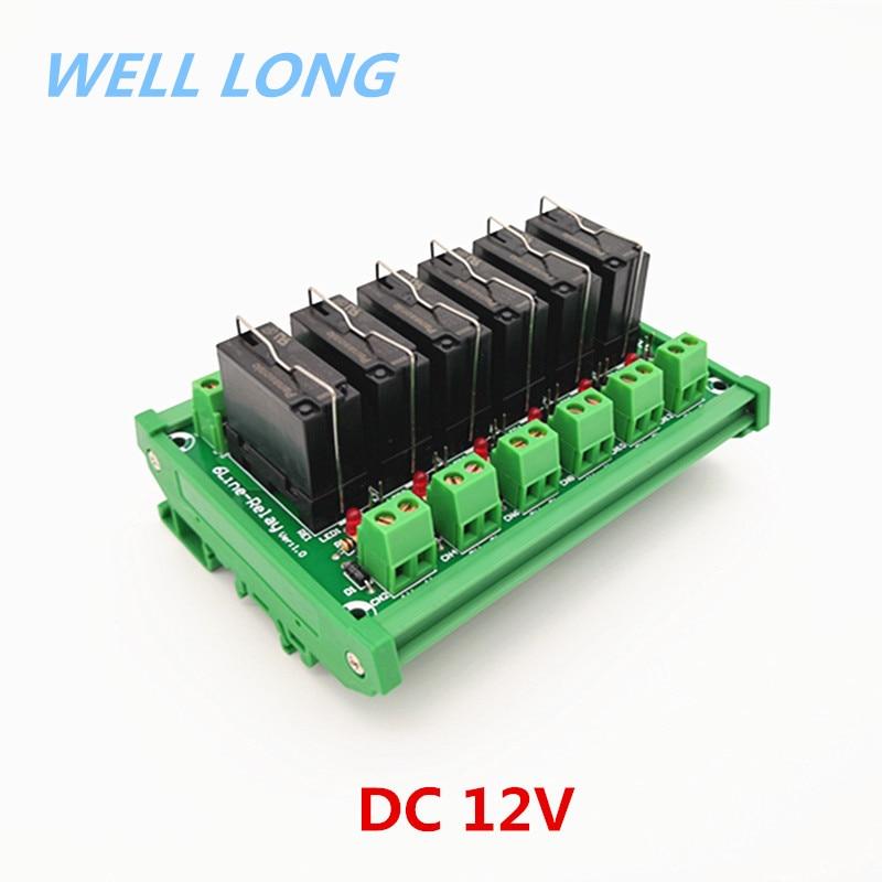DIN Rail Mount 6 DPDT 5A Power Relay Interface Module, JW2SN-DC12V Relay.DIN Rail Mount 6 DPDT 5A Power Relay Interface Module, JW2SN-DC12V Relay.