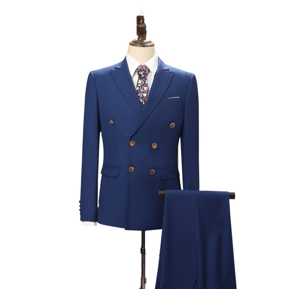 2019 새로운 도착 블루 웨딩 정장 신랑 턱시도 더블 브레스트 최고의 남자 정장 3 조각 (자켓 + 바지 + 조끼) 정식 소송 정의