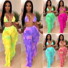 Mesh High Waist Ruffle Three Piece Swimsuit Printed Bra Trousers Panties Swim Set Backless Plus Size Bikinis Femme 6 Colors