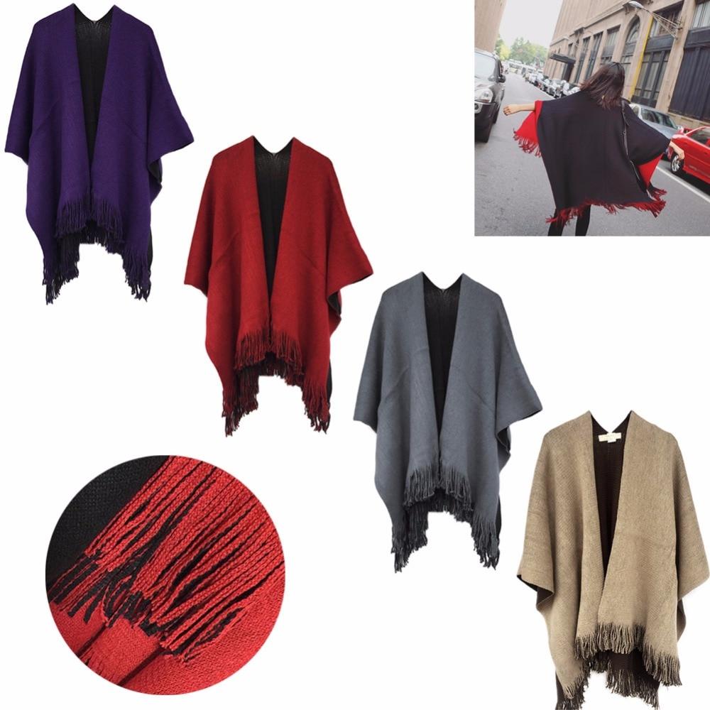 Women's Blanket Oversized   Scarf     Wrap   Shawl Knit   Wrap   Poncho   Scarf   Tassel Fringe 2017 New KLV