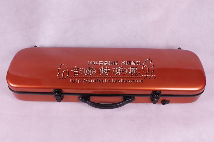 ФОТО orange  color    4/4 Violin case Glass Fiber Soft Imitate Leather Pink White Black #001