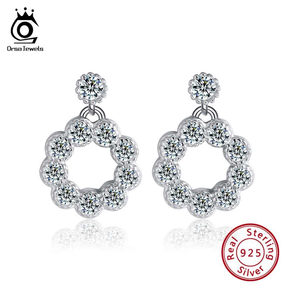 ORSA JEWELS Genuine 925 Sterling Silver Girl Stud Earrings Circle Hollowed AAA Dazzling Women Brinco Silver Party Jewelry SE111