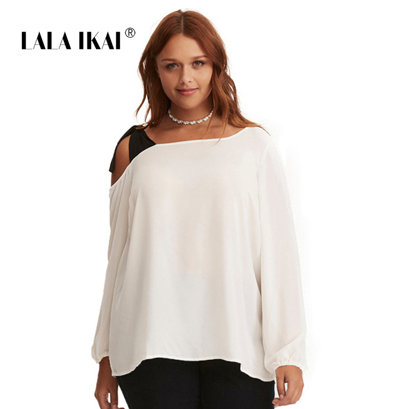 LALAIKAI Plus Size 3XL 4XL 5XL 6XL 7XL Lacing Spliced Blouse Women Chic Skew Collar Top Off Shoulder Loose Shirt Lady SWA1658-47