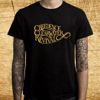 New Creedence Clearwater Revival Logo Men's Black T Shirt Size S 3XL