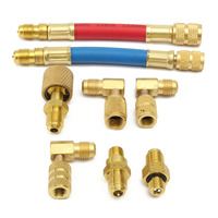 Car A C Fluoride Linker Automobile Air Conditioning Refrigeration Repair Tools Connector Adapter Coupler Kit R134A