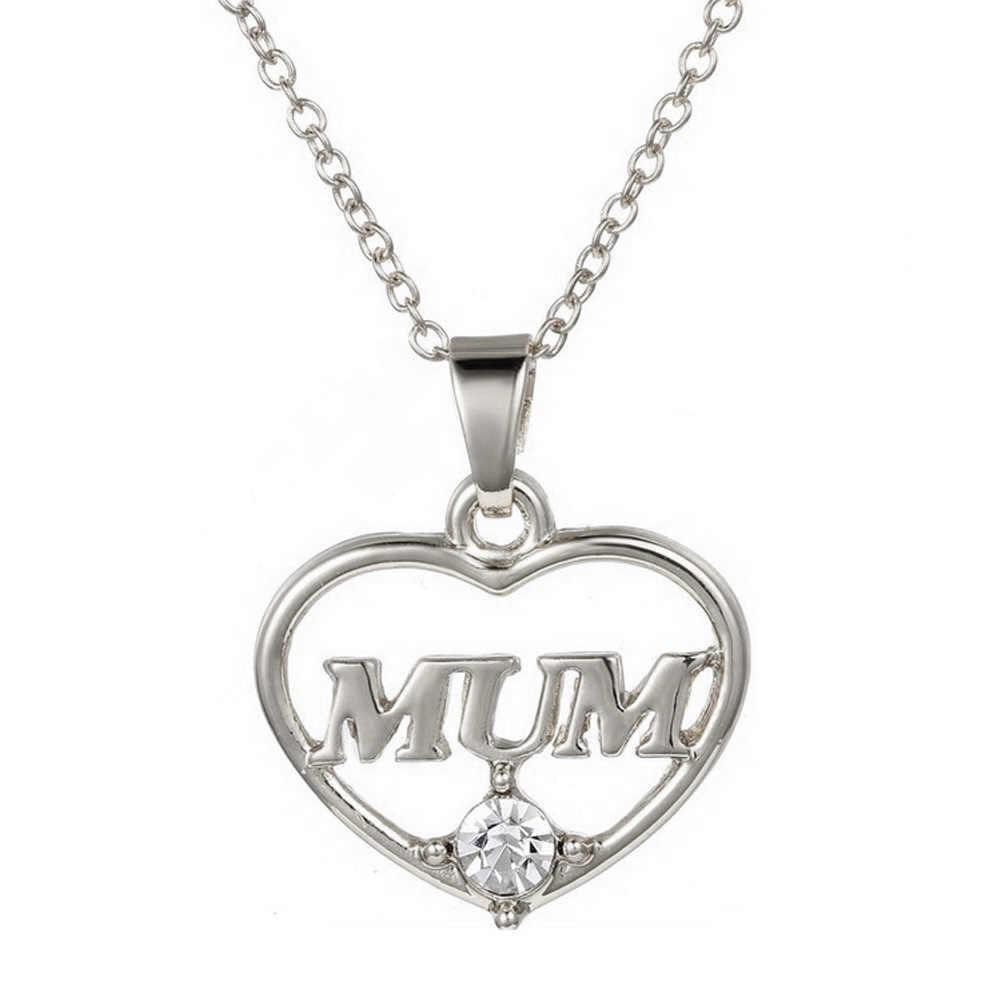 Moda 2 colores Día de la madre amor regalo mamá letra corazón diamante colgante collar personalizado joyería