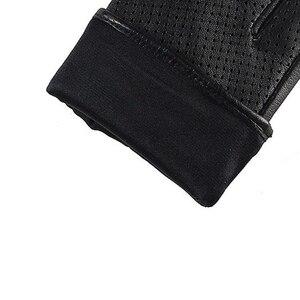 Image 5 - العلامة التجارية قفازات جلد طبيعي ربيع الخريف رقيقة موضة الاتجاه النساء قفازات من جلد الغنم إصبع القيادة قفاز L093NN