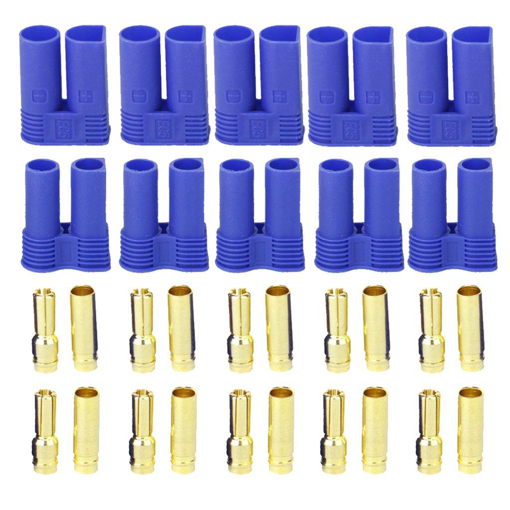 5 Pairs of EC5 Banana Plug Bullet Connector Female+Male for RC ESC LIPO Battery/Motor