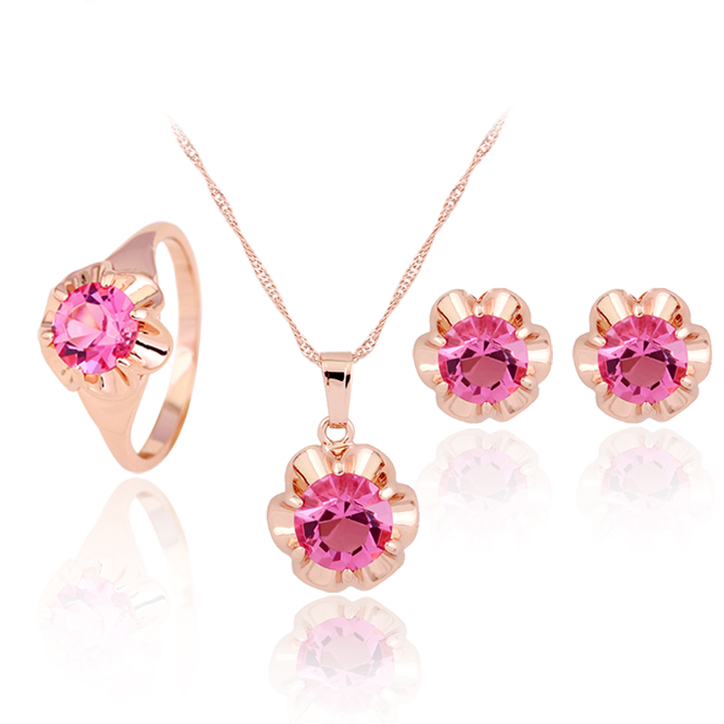 CZ Ensemble de bijoux African Bridal Rose Gold Austrian Crystal Necklace Earrings Ring Conjunto de joyas Weeding Jewelry Sets