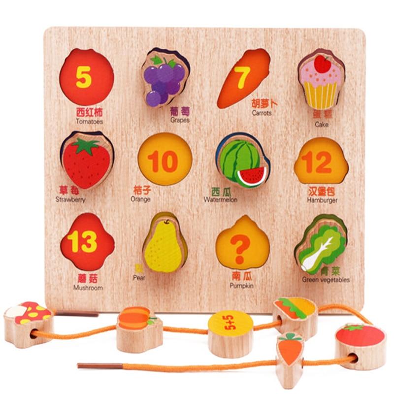 Kid Frühen Pädagogisches Spielzeug Baby Hand Greifen Holz Puzzle Spielzeug Obst/tier Bespannen Threading Lernen Spielzeug Kind Holz Puzzle Spielzeug üBereinstimmung In Farbe Puzzles