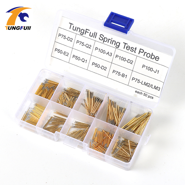 Spring Test Probe Best Promotion 500 Pieces P50 P100 Pogo Pin Phosphorus Brass Gilded Stainless Steel Wire