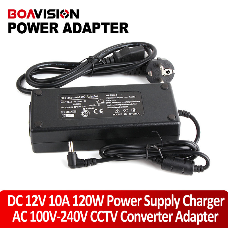 For Led Strip Or LCD Monitor CCTV Camera Connector AC 110-240V Input US/EU/AU/UK Plug DC 12V 10A 120W Output Power Adapter hotsale dc 12v 2a power supply adapter for cctv cameras surveillance system eu us uk au plug