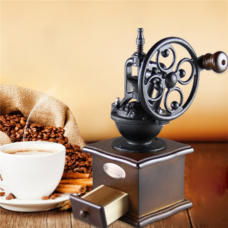 Ferris Wheel Design Vintage Manual Coffee Grinder With Ceramic Movement Retro Wooden Coffee Mill Coffee Bean