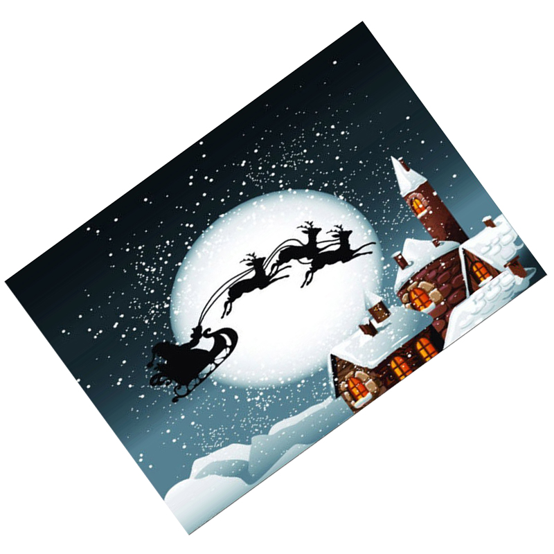 Vinyl Christmas Day Ice and snow, house, elk sled on the moon Seamless background cloth 2.1*1.5M(7*5ft) Seamless Photography B