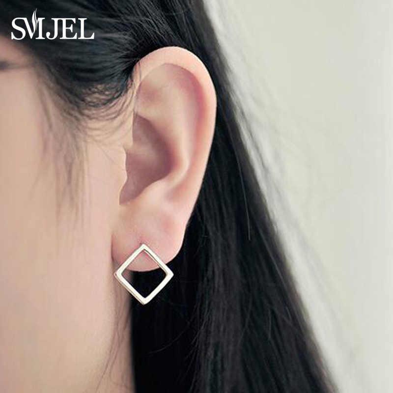 SMJEL Đáng Yêu Bông Tai Hình Học Bông cho Bé Gái Hình Vuông Lớn Bông Tai Nữ Trang Sức Phụ Kiện Đơn Giản Tai Earing nữ